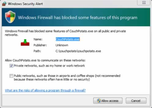 SickBeard windows firewall dialog