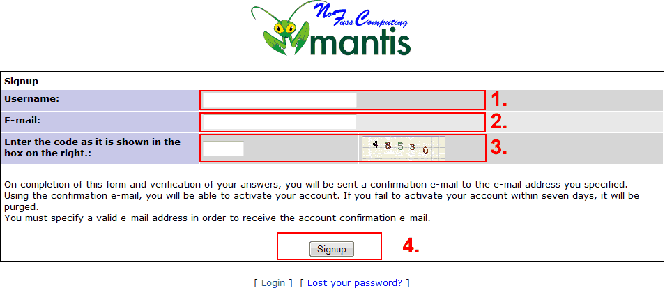 The signup page