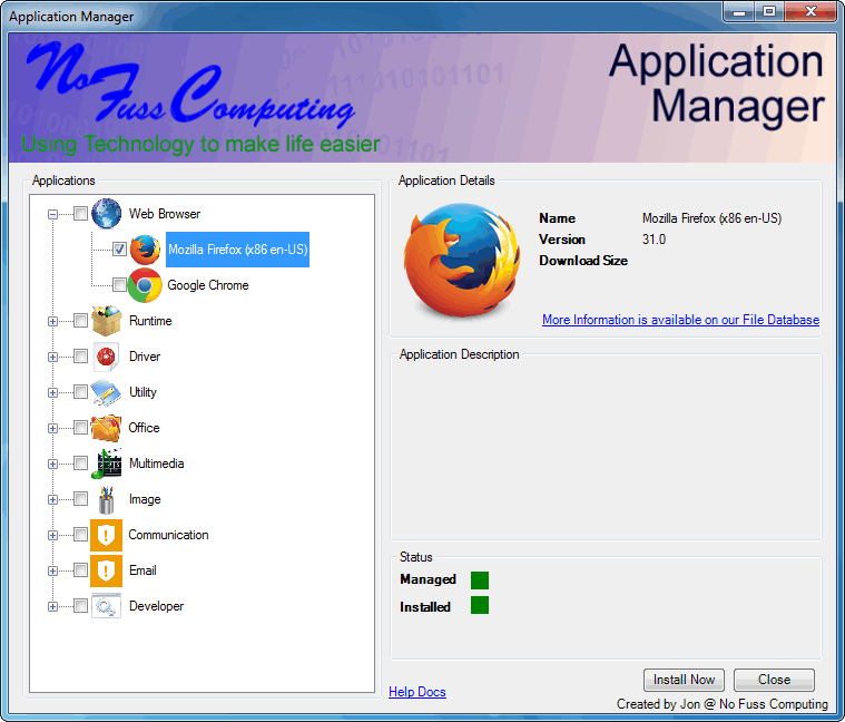 No Fuss Computing's Application Manager